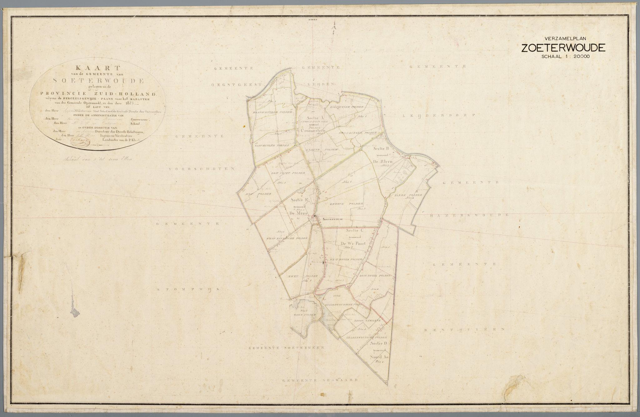 Verzamelplan gemeente Soeterwoude, opgemaakt in 1823